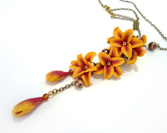 Lily necklace, Yellow and Orange flower pendant, Lily pendant, Polymer clay Jewelry, flower necklace, handmade jewelry