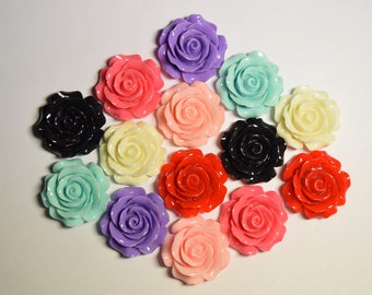 29mm Cute Rose Decoden Cabochon for Scrapbooking, DIY Projects, Crafts, and Embellishments