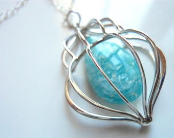 Cage Necklace with Amazonite in Sterling Silver, Sterling Silver Pendant Necklace, Gemstone Necklace