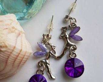 Purple Fairies Dangle Earrings - Fairy Earrings, Cute, children, Aquamarine, kids,