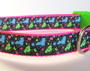 Glowing Neon Paint Splatter Dog Collar / Glow in the Dark Dog Collar