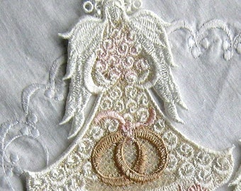 LACE ANGEL Ornament, FSL Angel, Unique Wedding or Shower Gift, Personalize Name or Date, Several Colors, Headpiece, Swarovski Crystal option