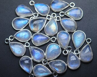 925 Sterling Silver,RAINBOW MOONSTONE Smooth Pear Shape Pendant,7 Piece of 14mm approx