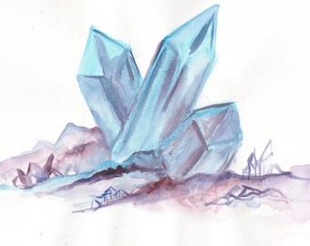 Blue crystal watercolor 5 x 7 or 8 x 10 CHOICE of PRINT magic mystic occult crystal art, purple pink pagan wiccan magickal nature geology
