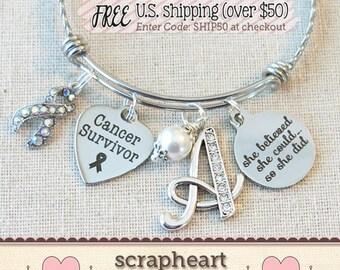 CANCER SURVIVOR Gift, She BELIEVED She Could Cancer Survivor Bracelet, Motivational Gift, Breast Cancer Gifts, Ovarian Cancer Ribbon Jewelry