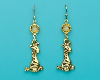 Giraffe Earrings, Cute Giraffe Earrings, Topaz Crystal Giraffe Earrings, Animal Earrings, Gifts for Her, 670
