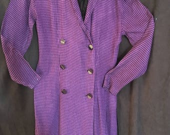 Purple Checked/Cotton Flannelette Coat Dress/ by Moda Size 6