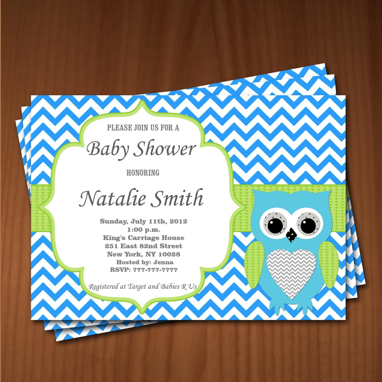 Owl Baby Shower Invitation Boy Baby Shower invitations