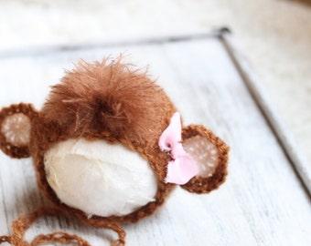 new born monkey girl bonnet,knitted monkey bonnet,mohair monkey bonnet