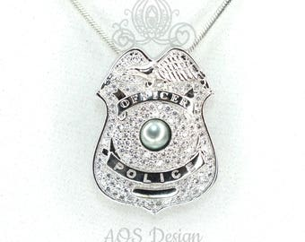 Police Officer Badge Pearl Cage Silver Necklace Pendant Crystal Charm Policeman Service Emblem