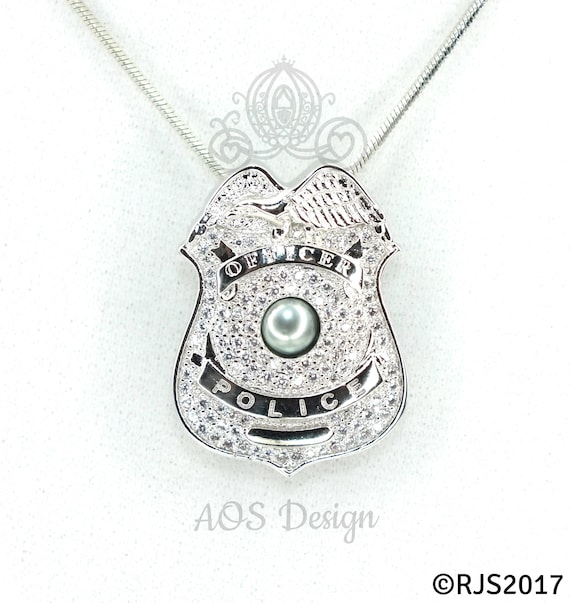 Police officer badge pearl cage silver necklace pendant aloadofball Images