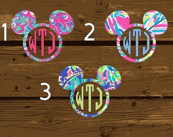 Lilly Pulitzer Decal, Lilly Pulitzer Vinyl, Lilly Vinyl, Monogram Decal, Monogram Sticker, Monogram, Yeti Monogram, Mickey Mouse,  Mickey