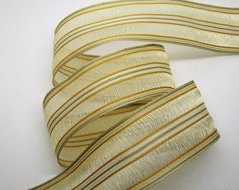 3 meters of Ribbon brass striped beige, caramel, light brown - ref 35
