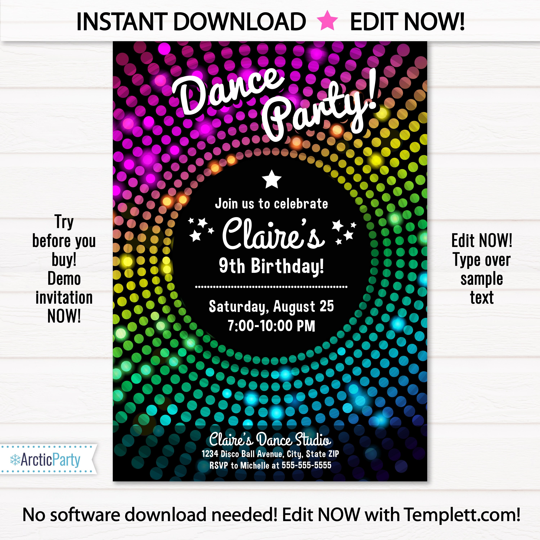 dance party invitation disco dance party invitations disco