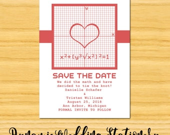 Heart Math Graph Nerdy Offbeat Save the Date DIY Digital Printable Announcement