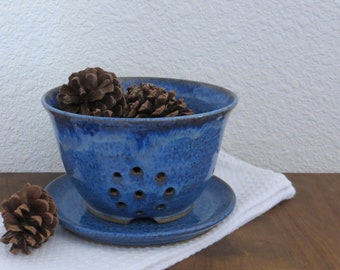 Berry Bowl Colander with Plate - Handmade Stoneware Pottery Ceramic - Indigo Blue - 5 cups