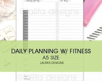 Filofax Kikki K Printable Daily Planning with Fitness Insert A5 Size