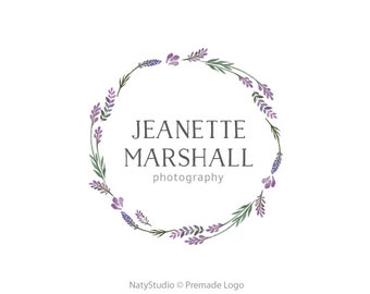 Lavender wreath logo flowers logo custom logo design premade logo watermark photography logo business logo foral logo