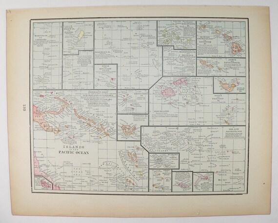 1899 vintage map pacific ocean islands map tropical islands te gusta este artculo gumiabroncs Images