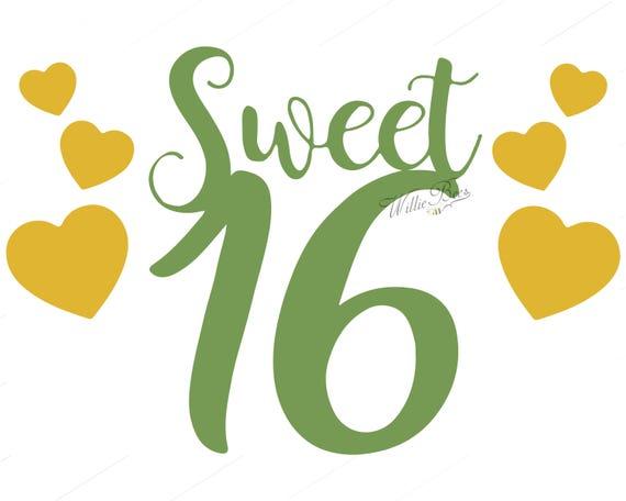 sweet sixteen birthday happy birthday 16th birthday girl rh etsy com  sweet sixteen birthday clipart
