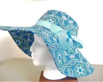 Blue Floral Sun Hat