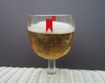 Michelob Beer Goblets thumbprint heavy glass goblet steins gifts for dad