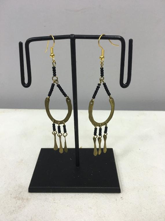 Earrings Brass African Masai Beaded Hoop Earrings Handmade Black African Beads Brass Women Earrings Dangle Hoops Unique Tribal E54