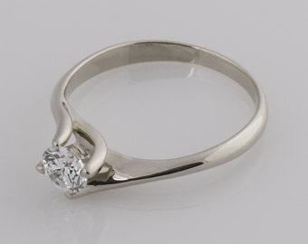 Dainty Moissanite Ring, Solitaire Engagement Ring, Twisted 14K White Gold Ring, Forever Brilliant, Diamond Alternative Ring, 5mm Moissanite