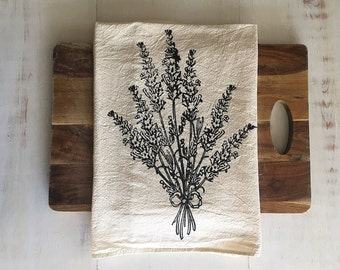 Flour Sack Towel (Unbleached) - Lavender - Hand Screen Printed