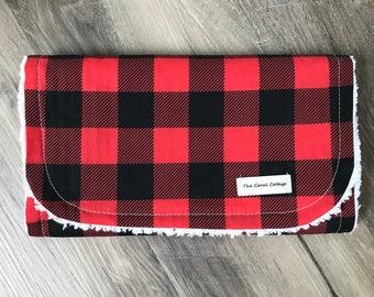 Buffalo Plaid Red and Black burp cloth