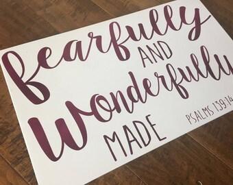 Psalm 139,Bible Verse Sign,I am fearfully and wonderfully made,Scripture Signs,fearfully made,nursery art,scripture art,Nursery Decor