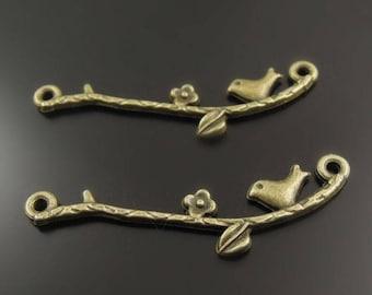 (X 4) bronze metal bird and branch connector