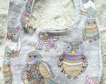 Owl bib, Ready to ship,infant bib, flannel baby bib, baby gift, terrycloth baby bib, reversible, adjustable snaps, girl bib