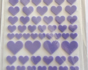 X 93-theme colors Purple Hearts embossed STICKERS. 33563