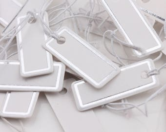 10 labels kraft blank rectangle rounded silver