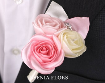 Flowers Boutonniere, Wedding Buttonhole, Ivory and Pink Boutonniere, Groom boutonniere, Groomsmen, Bridal Boutonniere, Roses Fabric Pin