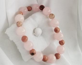 Rose Quartz and Rhodonite Bracelet