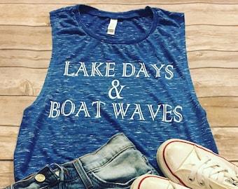 Lake Day & Boat Waves - summer tank - workout tank - lake - muscle tank