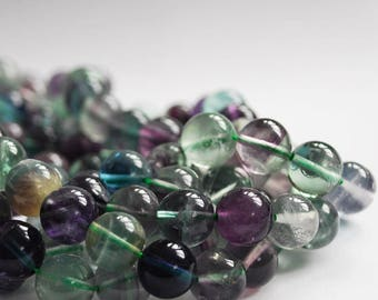 """High Quality Grade A Natural Rainbow Fluorite Semi-precious Gemstone Round Beads - 4mm, 6mm, 8mm, 10mm sizes - Approx 16"""" strand"""