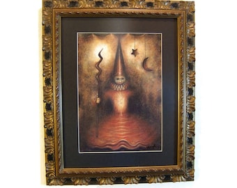 The Night Witch-High quality framed art print on quality matte  300 g/m2 paper signed by the artist.  Glass Matte Picture Frame