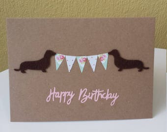 personalised dachshund card // sausage dog card // 18th // 21st // 30th // 40th // 50th // 60th // mum // mom // sister // daughter // wife