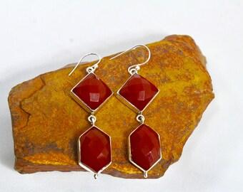 Red Onyx Earrings, Rose Cut Red Stone Earrings, 925 Sterling Silver Earrings, Artdeco Earrings, Gemstone Earrings, Geometric Earrings