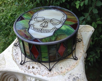 Green and Red, Round, Stained Glass Skull Box