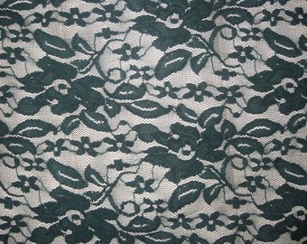 Hunter Green 4 way stretch lace Fabric