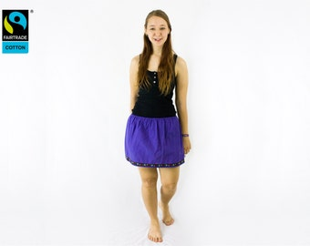 Fairtrade skirt purple with floral and hearts trim, fair vegan organic, folklore