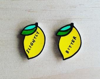 slightly bitter lemon earrings, shrink plastic, jewelry, gift, present, earrings, birthday gift, lemons