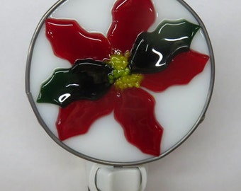 Poinsettia x2 Night Lights - Christmas Nightlights - 2 Fused Glass Poinsettia Night Lights - 2 Sizes & 2 Styles