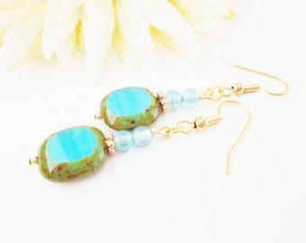 Turquoise Earrings, Southwest Jewelry, Boho Earrings, Beaded Dangle Earrings, Aqua Earrings, Bridesmaid Earrings, Birthday Gift for Her