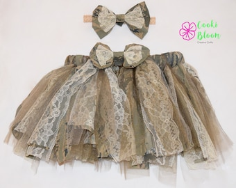 Military Baby Shabby Chic Camo Air Force ABU Tulle Lace Tutu and Matching Hair Bow