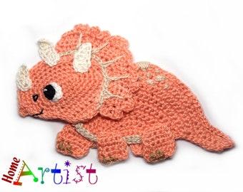 Crochet Applique Dino Dinosaur triceratops